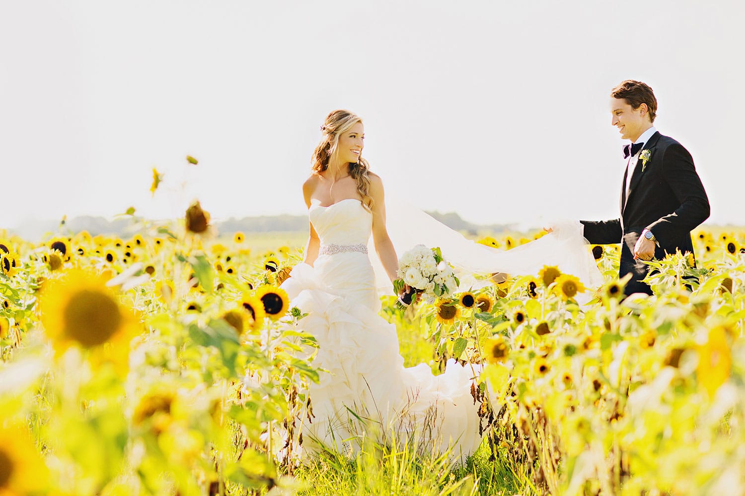 Wedded Couple in Sun Flower Field in Berkshire Wedding